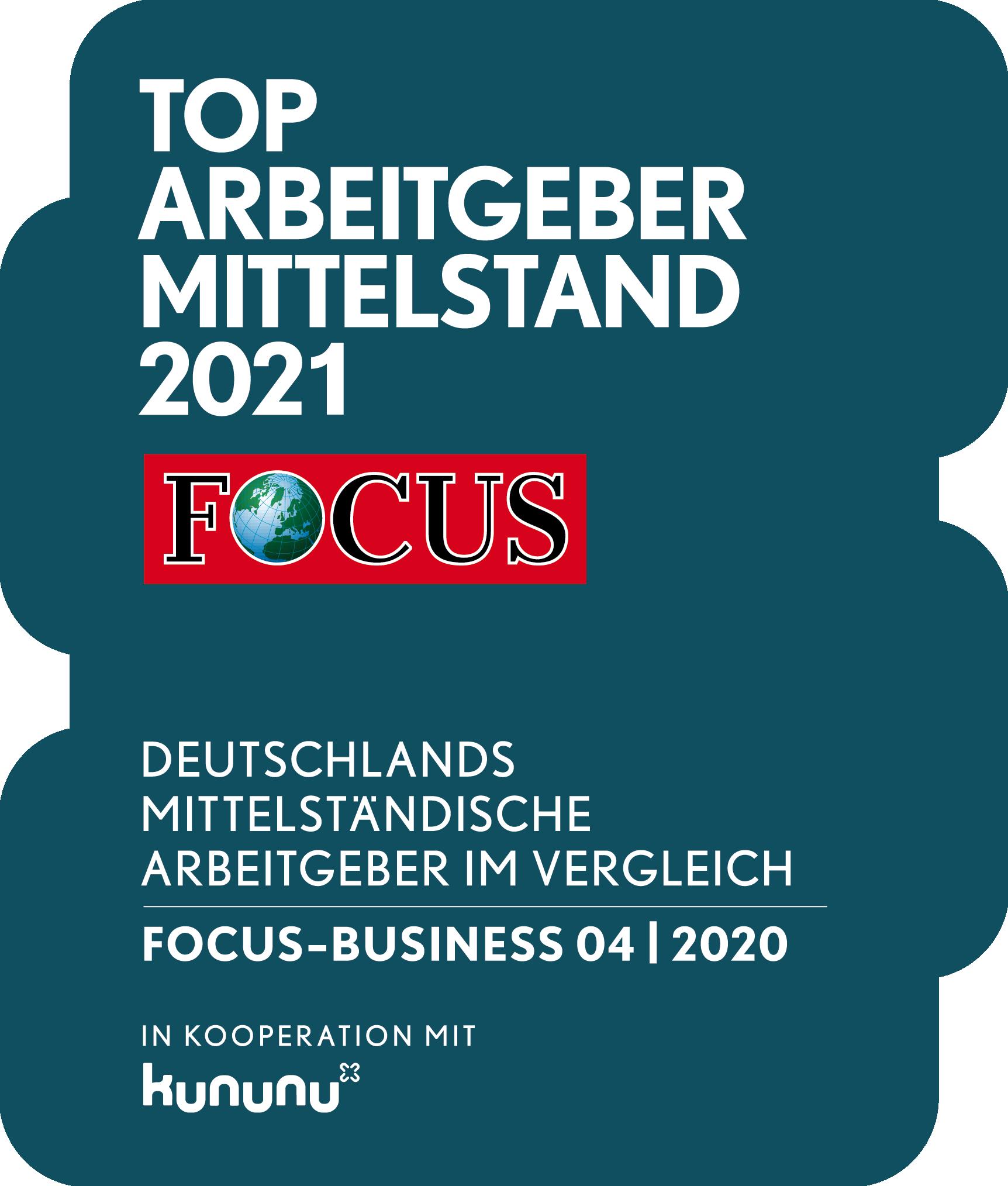Siegel Focus TOP Arbeitgeber Mittelstand 2021